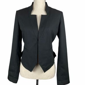 Hinge Notch Collar Open Front Jacket Black Small